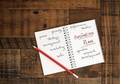 Business Plan - written on a notebook Stock Photos