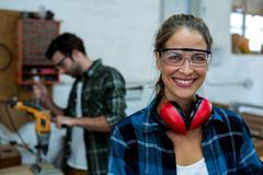 Portrait of female carpenter Stock Photos