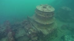 Anchor winch on the sunken ship. - stock footage