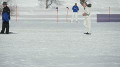 Cricket on ice run slow motion Stock Footage