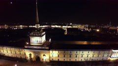 Aerial view. Admiralty, spire. Saint-Petersburg. Night. 4K. Stock Footage