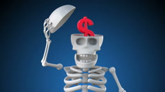Looping 3d skeleton revealing a US Dollar symbol inside its skull Stock Footage