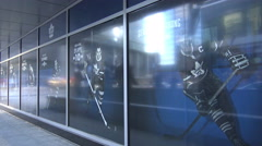 Maple Leafs Legends Row Posters at ACC, Toronto Stock Footage