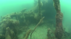 Movement among the fragments of of the wreck. Stock Footage