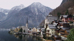 View of the Scenic Town of Hallstatt Stock Footage