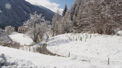 Snow Covered Landscape along Brenner Autobahn A13 Stock Footage