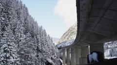 Europa Bruecke Brenner Autobahn near Austrian/Italy Border Stock Footage