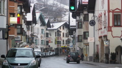 Main Road in Matrei, at the Brenner Autobahn Stock Footage