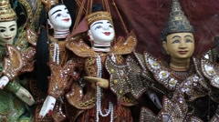 Traditional handicraft puppets are sold in a market in Bagan, Myanmar . Close up Stock Footage