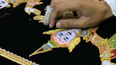 Burmese tapestry masters woman work with kalaga. Mandalay, Myanmar, Burma Stock Footage