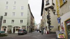 Street Scene in the Center of Schwaz Stock Footage