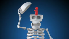 Looping 3d animation of skeleton revealing an info symbol inside its skull - stock footage