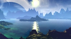 Fantasy alien planet. Rocks and lake. 3D animation Stock Footage