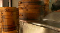 Bamboo steamers outside Taiwanese restaurant Stock Footage