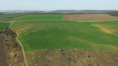 Aerial view of fields landscape, green forest, , horizon, blue sky, road - stock footage