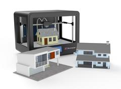 Stock Illustration of 3d printer and house building, concept
