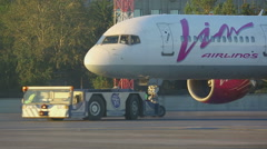 The aircraft is being prepared for towing Stock Footage