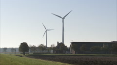 Dutch landscape farmer house windmills Stock Footage