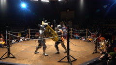 Two medieval knights fighting in the arena with clubs and shields. - stock footage