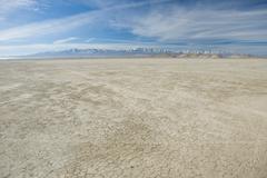 Arid salt flats of California - stock photo