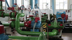Pump station with pipes and valves - stock footage