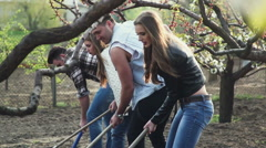 Gardening. The company of young people working in the garden. Series Stock Footage