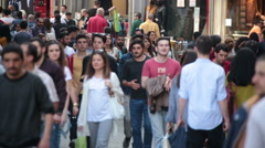 Crowd of people walking (Shopping). Istanbul/Taksim/Istiklal/April/2016 Stock Footage