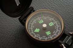 navigation black compass - stock photo
