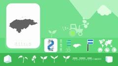 Honduras  - Agriculture - Vector Animation - green Stock Footage