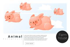 Stock Illustration of Animal banner with Pigs for web design