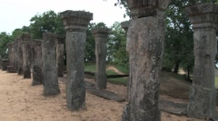 Stone columns and ruins of the ancient building in Polonnaruwa, Sri Lanka. Stock Footage