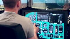 Virtual reality system. Aitcraft simulator - stock footage