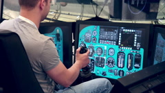 Virtual reality system. Aitcraft simulator Stock Footage
