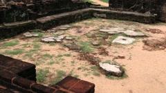 People visit ruins of the Royal Palace in Polonnaruwa, Sri Lanka. Stock Footage