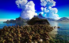 volcanic eruption on tropical island, 3d illustration - stock illustration