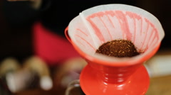 Pour over coffee brewing method whole process by barista girl. Barista girl Stock Footage