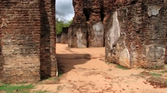 Ruins of the Royal Palace in Polonnaruwa, Sri Lanka. Stock Footage