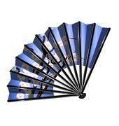 blue fan and blossom - stock illustration