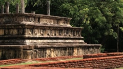 View to the ruins of the building in the ancient city of Polonnaruwa, Sri Lanka. - stock footage