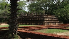 View to the ruins of the building in the ancient city of Polonnaruwa, Sri Lanka. Stock Footage