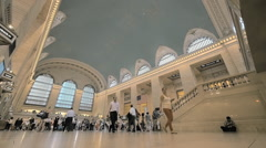 People travel Grand Central Station interior architecture NYC day New York City Stock Footage