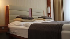 Bed in luxury hotel dormitory Stock Footage
