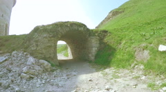 Stone tunnel ancient castle Stock Footage