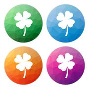 Collection of 4 isolated modern low polygonal buttons - icons - for shamrock  - stock illustration