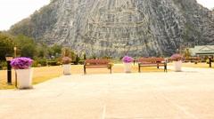 Khao Cheejan - Buddha carved in mountain near Pattaya Stock Footage