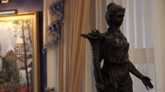 Statue sculpture in luxury historical restaurant Stock Footage