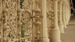 Park Colonnade iron railing details in Karlovy Vary - stock footage