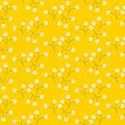 Wild flower light tender white spring field seamless pattern - stock illustration