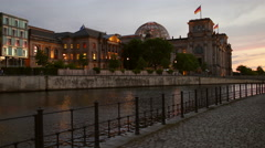 Reichstag Building Skyline in Berlin with Sunset Stock Footage