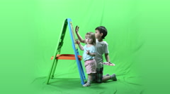 Happy children having fun and painting ProRes Stock Footage